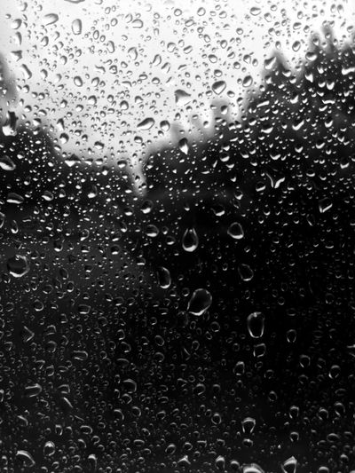 Rain Raindrops On My Window Glass Blackandwhite Rainy Days