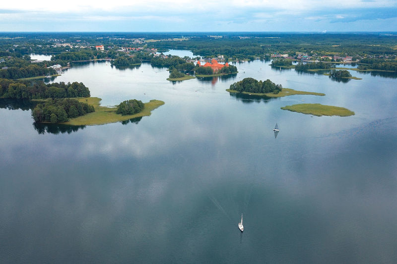 Galve Lake Aerial View Beauty In Nature Day Drone  Galvė Lake High Angle View Lake Mavic Mavic Pro Nature Nautical Vessel No People Outdoors Reflection Scenics Sky Summer Trakai Castle Trakai Island Castle Tranquil Scene Tranquility Tree Water