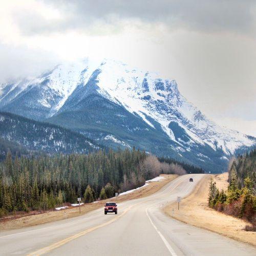 Highway Against Mountain Range