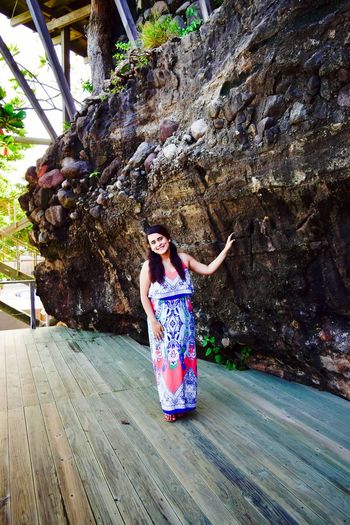 Beauty is where she is... No matter the Places, she is the only one I can stare... I love you tons babe Full Length Person Lifestyles Rock Formation Casual Clothing Smiling Vacations Outdoors People And Places Happiness