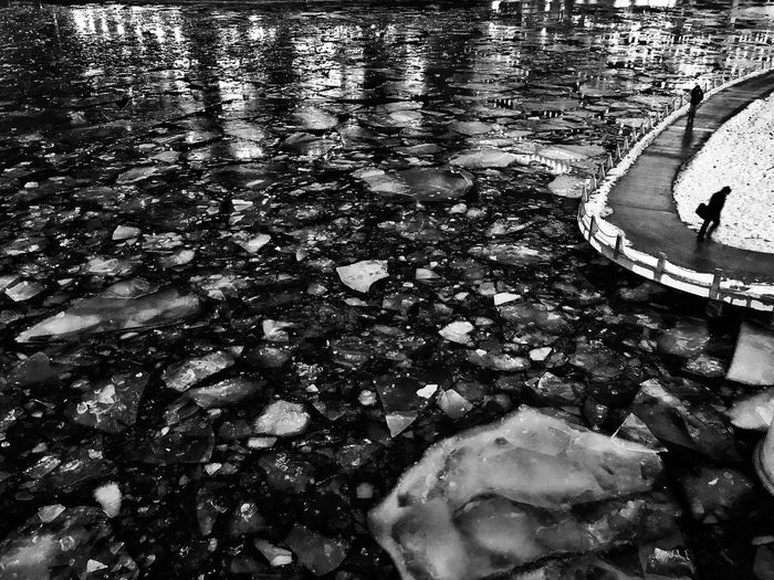 Chicago River River Chicago Blackandwhite Streetphotography Winter Ice Water Reflection Floating On Water High Angle View Outdoors