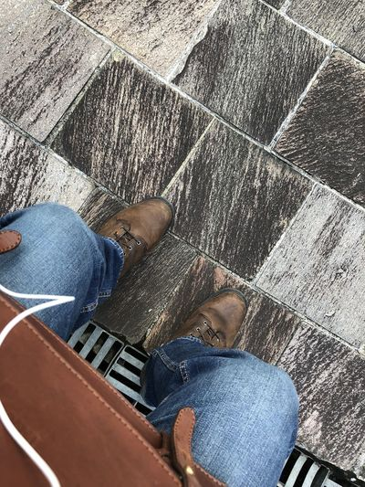 Taking a break at Bukit Purmei Hillock Park after work. I really like the aged floor tiles/ paving. They have so much character and unique patterns. Boots Public Park Casual Clothing Directly Above High Angle View Human Leg Jeans Leisure Activity Low Section Outdoors Paving Stone Sitting