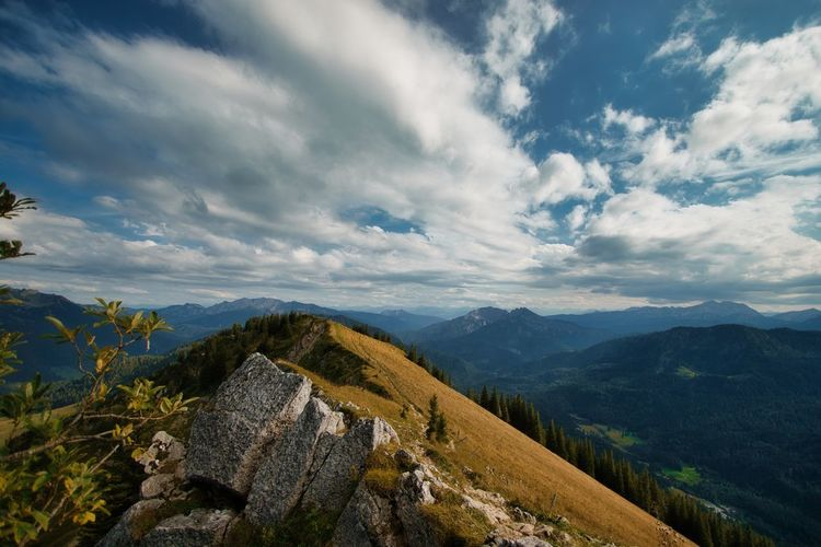 Hiking trip bavarian alps mountain range mountain hiking scenic view of mountains against sky
