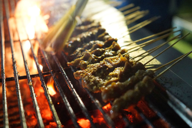 Satay Barbecue Barbecue Grill City Close-up Flame Food Freshness Grilled Heat - Temperature Indonesian Food Malaysia Meat Oily Food Satay Singapore Food Unhealthy Eating Food Stories