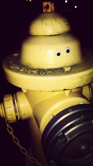He watches, none notice but he is always there. A yellow sentinal. Fire Hydrant College Googley Eyes