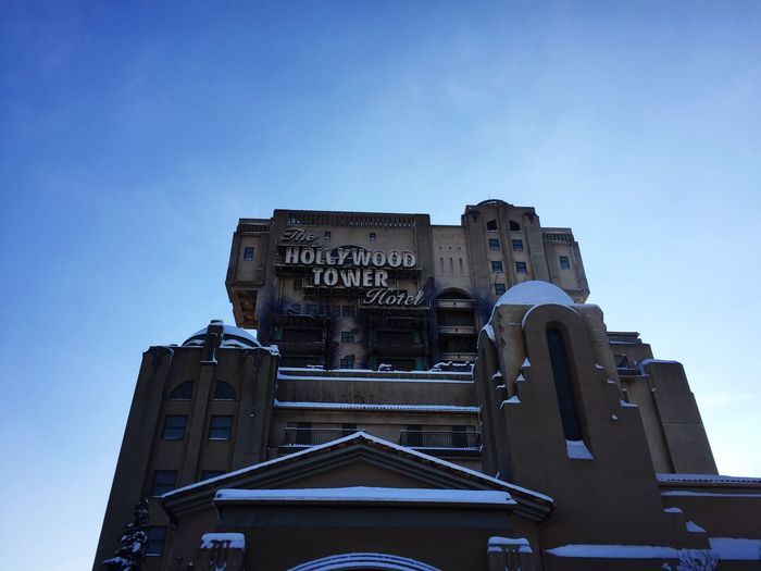 Tower of terror Architecture Built Structure Low Angle View No People Sky Day Outdoors Building Exterior Sculpture Blue Sky Disney Lights Taking Photos