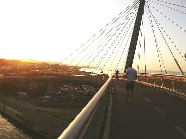 Sunset Suspension Bridge Sunsetlover Pescara Abruzzo