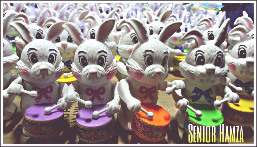 Drums Rabbits Playing Toys Drummer Kids