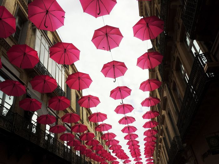 Umbrella Low Angle View Multi Colored Abundance Decoration Group Of Objects Repetition Outdoors City Life Cancer Du Sein France Montpellier