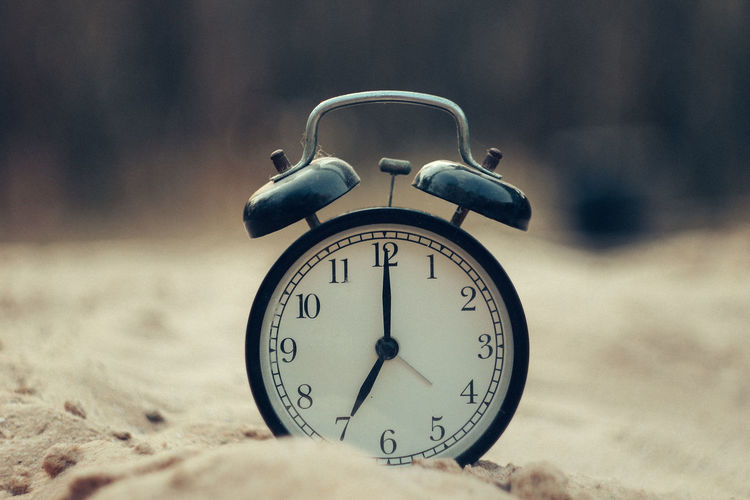 Alarm Clock Number Time Clock Close-up No People Focus On Foreground Day Still Life Selective Focus Land Retro Styled Single Object Nature Table Accuracy Outdoors Sand Minute Hand Clock Face