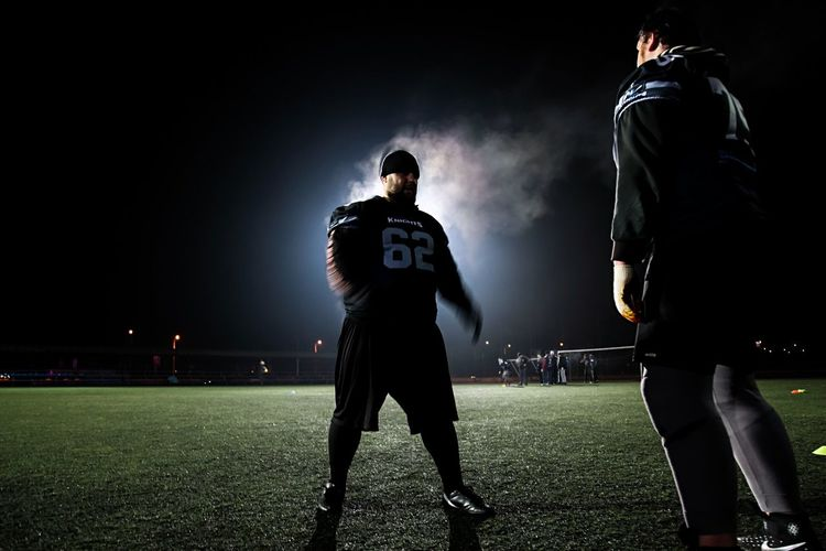 American football Super Bowl Traning Night Stadium Illuminated Competitive Sport Competition Two People Grass American Football - Sport American Football Player Sports Team Men American Football Field Sportsman Outdoors Only Men Sport