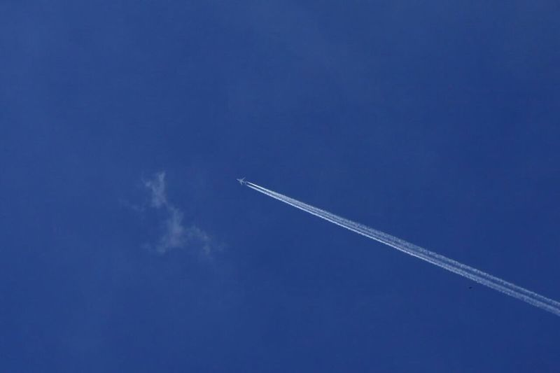 Airplane Jet Jet Engine Jet Plane Vapor Trail Flying Blue Transportation Clear Sky Mode Of Transport Sky Low Angle View No People Contrail Journey White Day Air Vehicle Outdoors Beauty In Nature