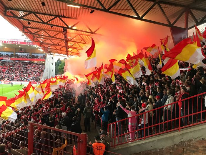 Pyrotechnics Soccer Eisern Union Fan Union Berlin Fussball Alte Försterei Fan Decoration Hanging Lighting Equipment Celebration Sky Nature Built Structure