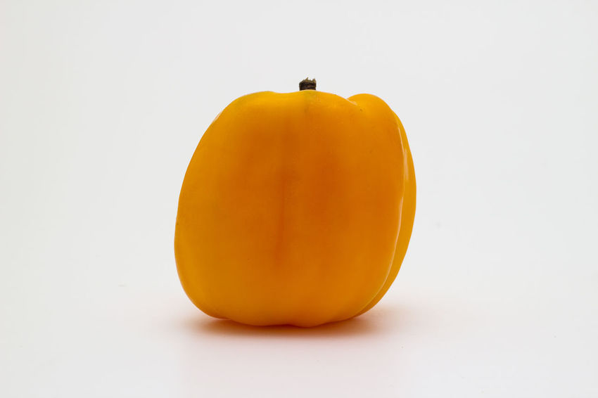 Yellow Flower Yellow Pepper Close-up Copy Space Cut Out Food Food And Drink Freshness Fruit Healthy Eating Indoors  No People Orange Orange Color Pepper Pumpkin Raw Food Single Object Still Life Studio Shot Vegetable Wellbeing White Background Yellow