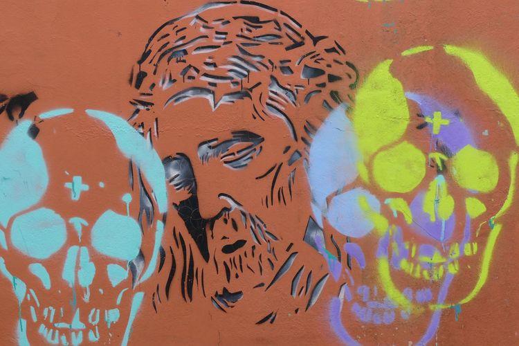 Streetart in Esens (Germany) Christ Death Esens Frisia Graffiti Art Graphics Multi Colored Skulls Streetart Wall Art
