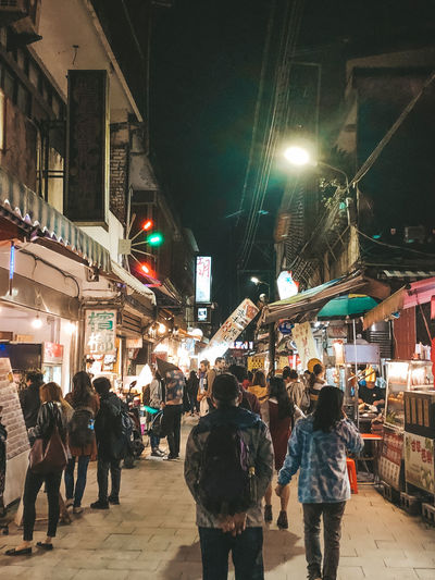 old street Night City Illuminated Group Of People Real People Architecture Building Exterior Street City Life Built Structure Men Women Large Group Of People Adult Crowd Lifestyles Walking Leisure Activity Store Outdoors Light Shifen Shifen Old Street