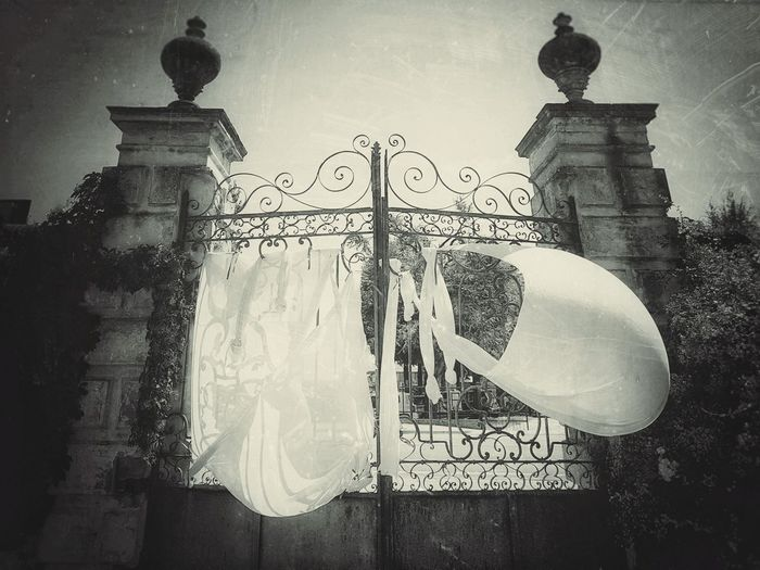 the gate Gate Gates Windy Windy Day Wind Bed Sheets Bed Sheets Against The Wind Pillar Entrance Gate Entrance Spooky Atmosphere Spooky Blackandwhite Black And White Black & White Blackandwhite Photography Black And White Photography EyeEm Best Shots - Black + White No Edit/no Filter Entryway