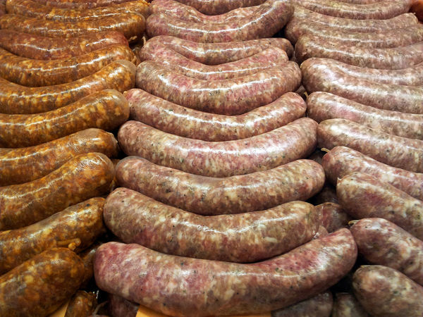 Fresh bratwurst or sausages at the butcher Arrangement Brat Close-up Closeup Cooking Culture Design Detail Dinner Food Food And Drink Food Photography Foodphotography Geometry Indoors  Large Group Of Objects Meal Meat No People Order Pattern Preparation  Sausage Selective Focus Still Life