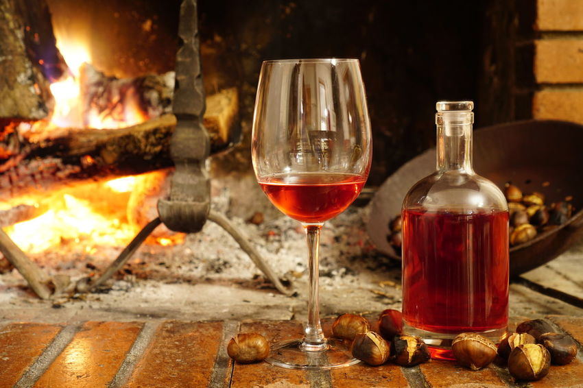 Abruzzo Alcohol Burning Chestnuts Close-up Drinking Glass Flame No People Perano Red Red Wine Wine Wineglass