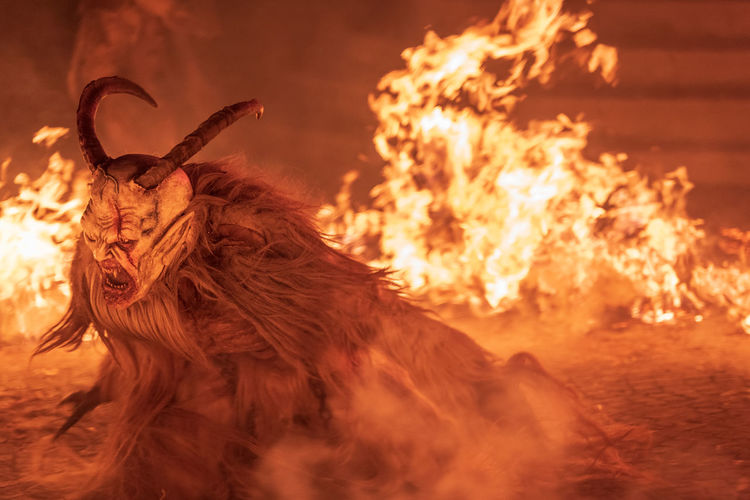 Fire. flames. krampus. christmas devils