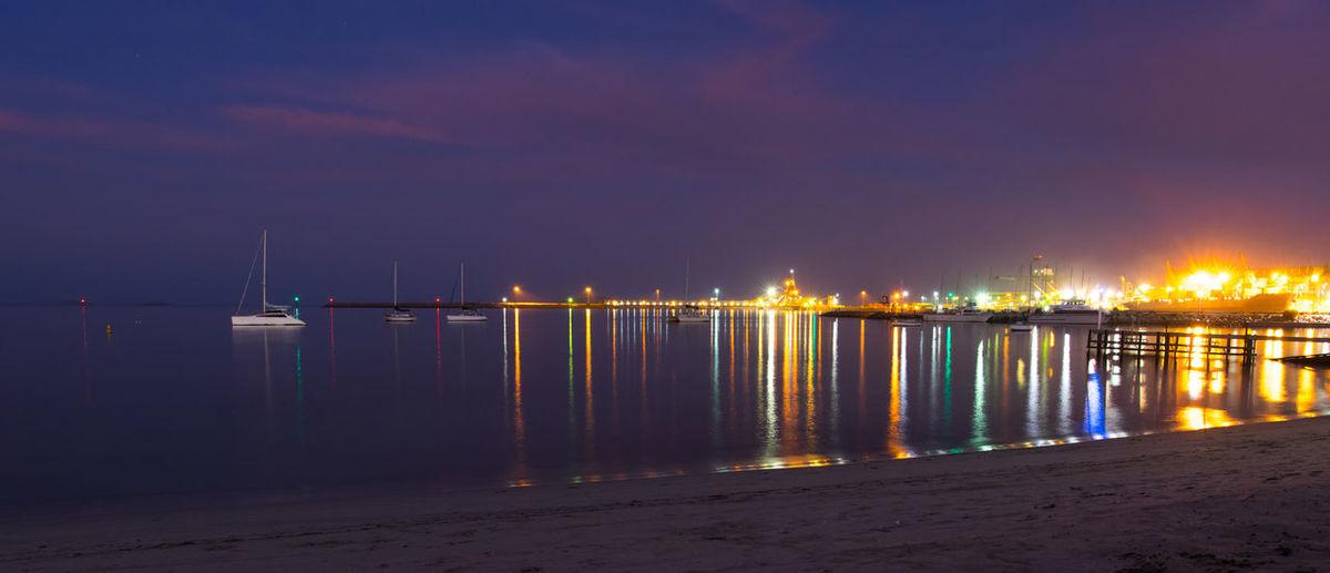 Twilight coast Boats Beach Esperancebeaches Esperance Lights On The Water