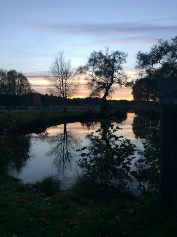 Sunset Water Reflections Evening Sky Silhouette Autumn