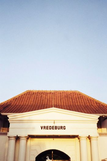 Vredeburg fort History Yogyakarta Indoors  INDONESIA Vredeburgfort Architecture Built Structure Text Building Exterior Clear Sky Sky Copy Space Western Script Communication Day Roof Travel Destinations No People Low Angle View Building Nature Sunlight Arch Capital Letter Entrance EyeEmNewHere