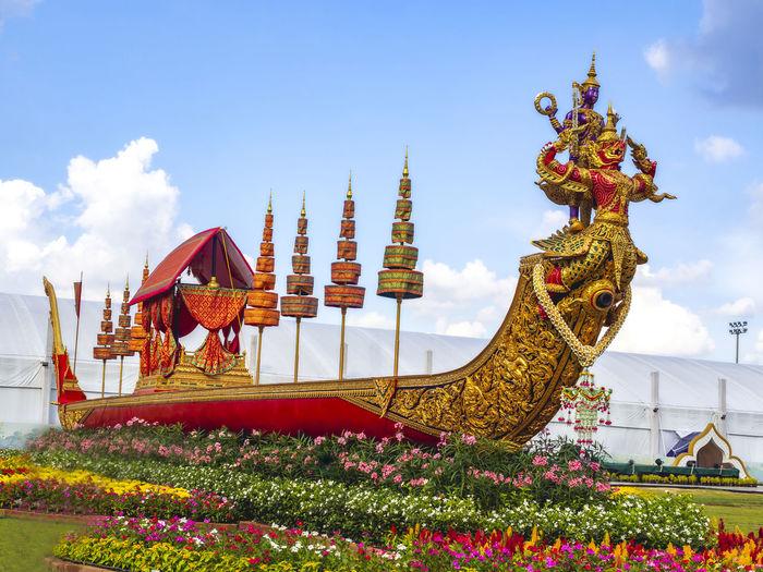 Narai song suban royal barge on the flower garden in bangkok, thailand
