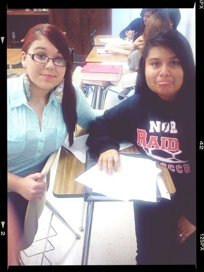me and jasmine in class. c: