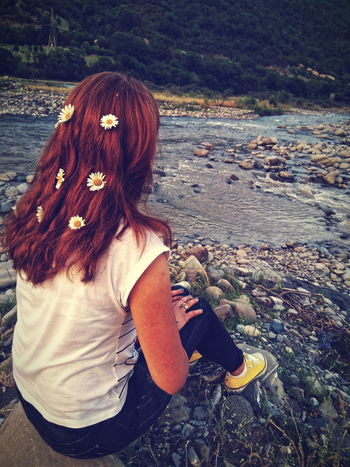 Myvillage💜 Georgia Freshair Flower Ananuri Aragvi Happy Time Young Women Women Water Standing Redhead Long Hair Rear View Casual Clothing