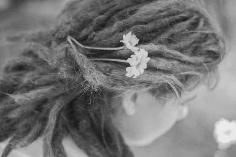 Spring morning. Blackandwhite Blackandwhite Photography Close-up Dreadlock Girl Dreadlocks Flowers Focus On Foreground Hair Hairstyle Hairstyles Human Face Long Hair Natural Beauty Nature Person Teenager Yogagirl Monochrome Photography