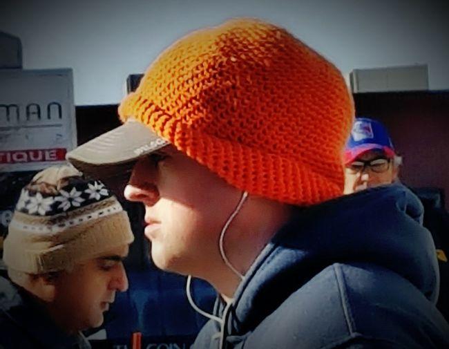 Orange Color Headshot Orange Orangehat Orange Theme Orange! Winter Weather Take Photos Outdoors City Close-up One Person Man