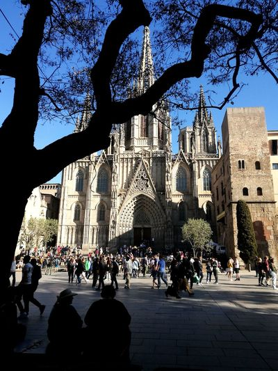 Barcelona Outdoors Travel Destinations Architecture People Tree City Large Group Of People Built Structure Building Exterior Day Sky