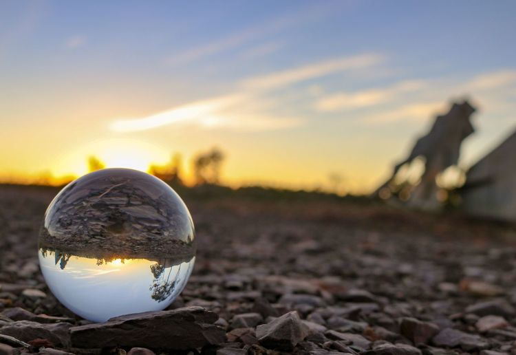 Australia Outback Glassball Sunrise Planet Earth Sunset Rural Scene Crystal Ball Fortune Telling Space Futuristic Sphere Close-up Sky Crystal