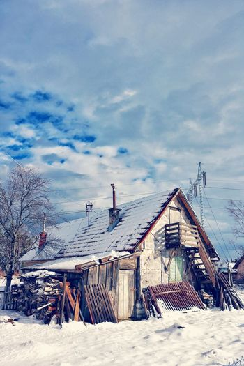 Village Life Old House Mountain Colours Of Winter Wintwer Cold Winter ❄⛄ Mountain Living Shades Of Winter No People Outdoors Sky Built Structure Snow