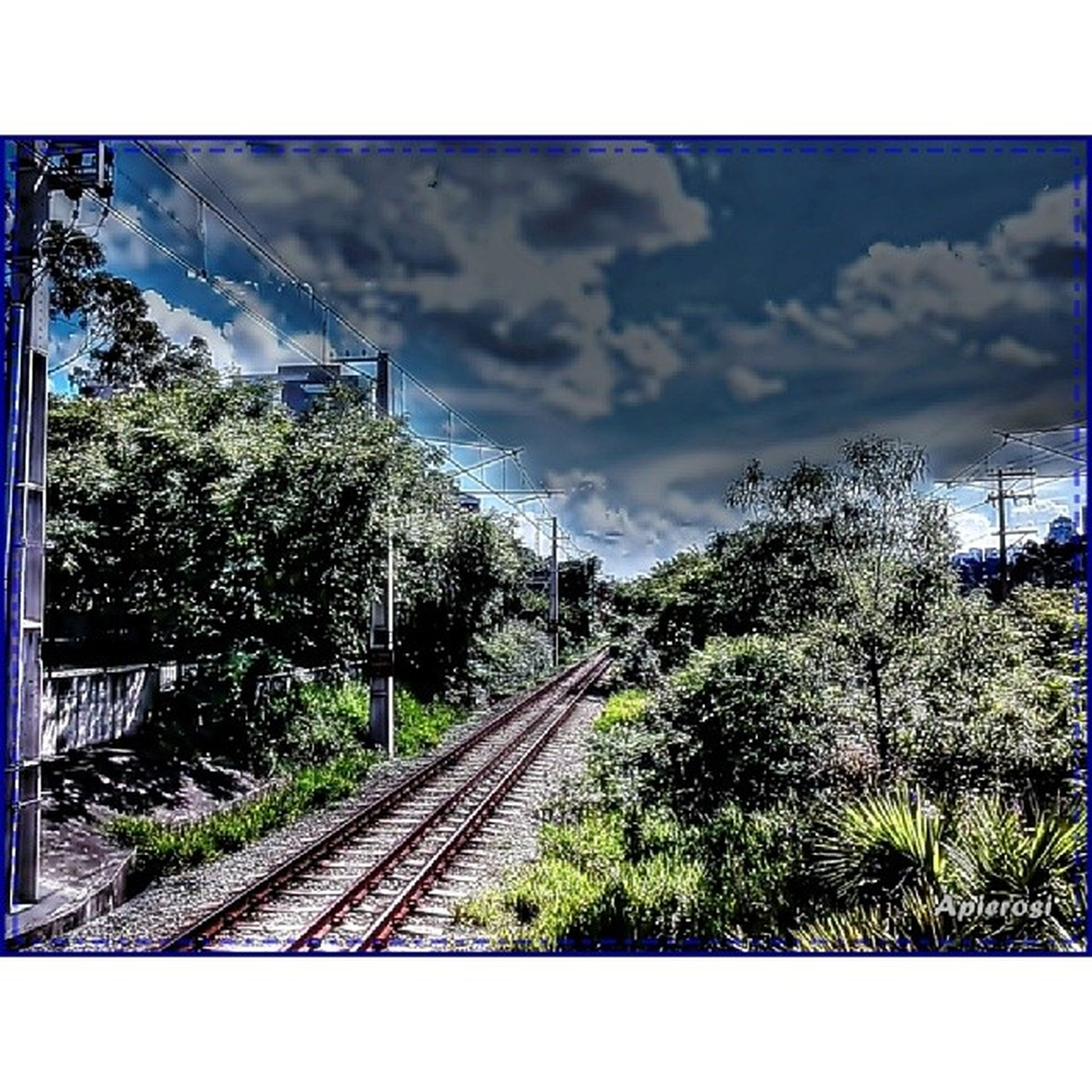 transfer print, railroad track, tree, transportation, rail transportation, sky, auto post production filter, cloud - sky, the way forward, built structure, public transportation, diminishing perspective, architecture, connection, cloud, railway track, vanishing point, day, cloudy, building exterior