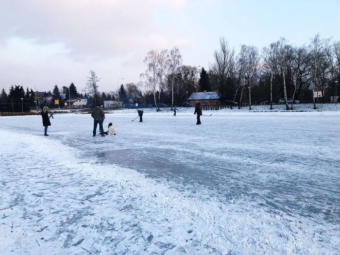 Iced Lake Lake Ice Lake Winter Cold Temperature Snow Winter Sport Weather Frozen Nature Sport Ice Hockey Ice Ice Rink Leisure Activity Sky Outdoors Day Ice-skating Tree Hockey Lifestyles Real People