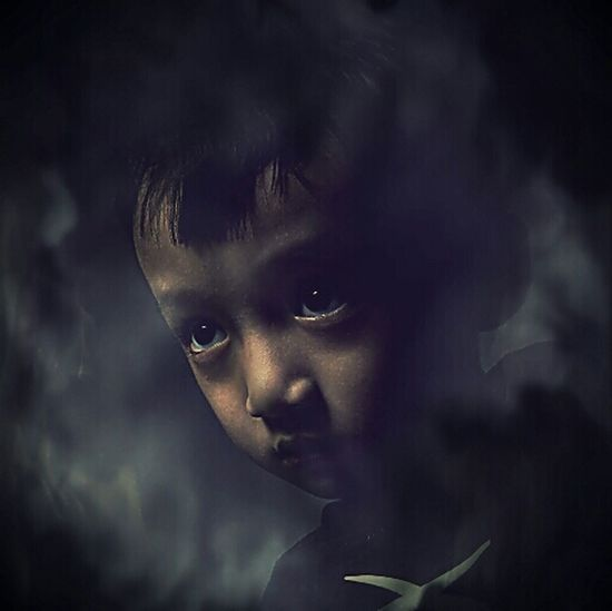So angry Boy Portrait Child Fantasy Spooky Scary Face Watchin U