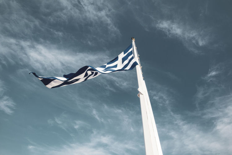 Acropolis Athens Greece Acropolis Wind Sky Cloud - Sky Patriotism Low Angle View Flag Waving Nature Striped Environment Motion Freedom Emotion Day Outdoors No People Independence National Icon