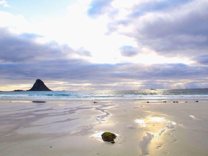 Midnightsun Sea Land Sky Cloud - Sky Scenics - Nature Sand Beauty In Nature Outdoors Idyllic Horizon Over Water Nature