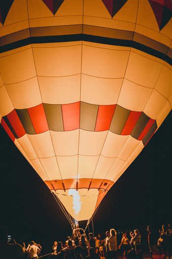 View of hot air balloons flying