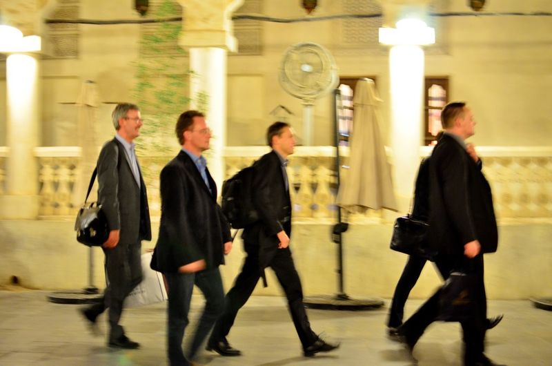 Night In Qatar Souq Waqif Full Length Businessman Walking Business Well-dressed Blurred Motion Mature Adult Corporate Business Colleague Men Coworker Mature Men Indoors  Motion People Built Structure Adults Only Business Person City Adult Overtime