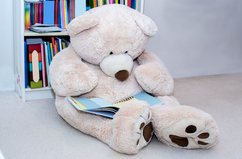A giant teddy bear sits beside a book shelf and reads a really good book BOOK SHELF Bear Humor Relaxing Animal Representation Book Bookshelf Close-up Day Domestic Room Education Home Interior Indoors  No People Publication Reading Bear Reeadin Representation Shelf Softness Still Life Stuffed Toy Table Teddy Bear Toy