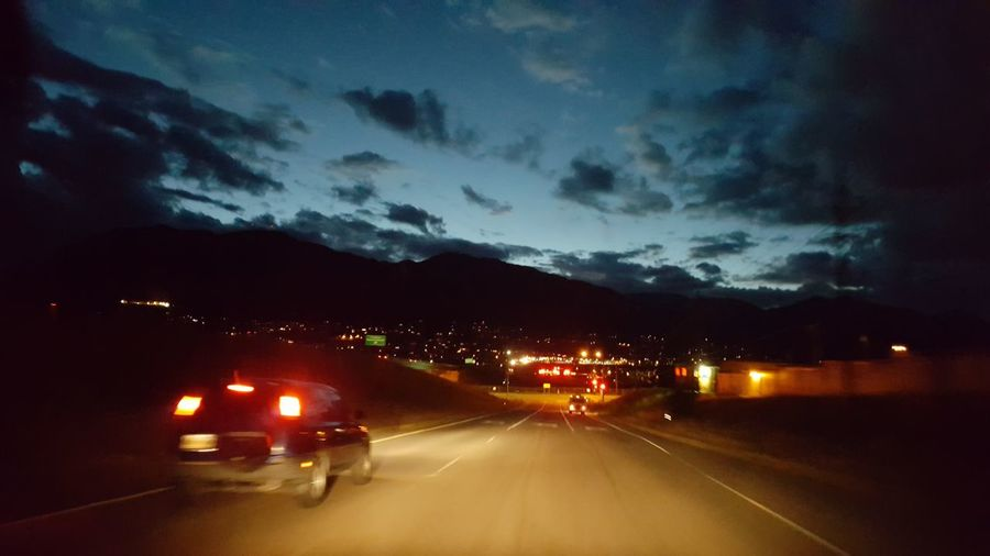 Illuminated Night Headlight Road Sky Car Dramatic Sky Driving Mountain Range Mountain
