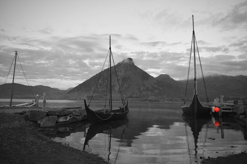 Beauty In Nature Blackandwhite Borg Cloud - Sky Day Domestic Animals Lofoten Norway Mammal Mode Of Transport Mountain Mountain Range Nature Nautical Vessel No People Outdoors Scenics Sky Transportation Vickings Water
