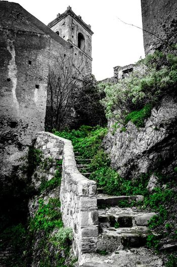 Savoca Blackandwhite Nikonphotography Nikon Sicily History Stone Material Architecture Built Structure Castle Travel Destinations Building Exterior No People Tree Day Outdoors Low Angle View Sky Nature
