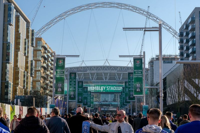 Wembley Stadium - Check out my new Instagram account RobinPopePhoto Crowd Group Of People Large Group Of People Architecture Built Structure Real People Building Exterior Sky Clear Sky Arts Culture And Entertainment Leisure Activity City