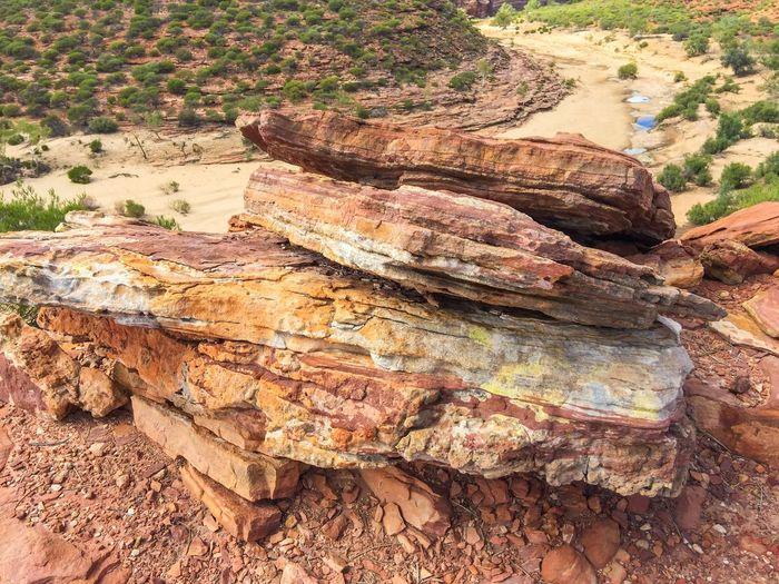 Nature's Layers Rocky Stone Red Travel Photography Rock Hiking Nature's Design Western Australia Australia Kalbarri Nature Land Nature Photography Geological Sandstone Gorge Valley Nature Textures Layered Rock Elevated View Colors Of Nature Landscape_Collection Sandstone Bluffs