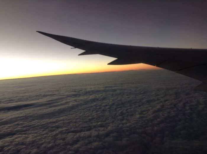 Airplane Flying Air Vehicle Aerial View Aircraft Wing Transportation Travel Sunset Sky Landscape