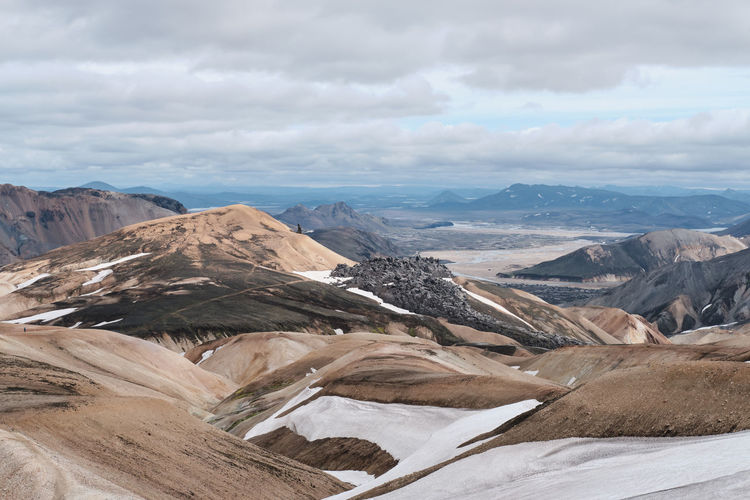 Mountains, lava formations and landmannalaugar in the highlands of iceland.